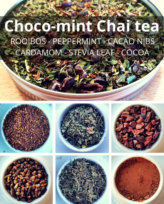 Choco-mint #Chai #Tea is an amazing mix of #rooibos #peppermint #cacaonibs #cocoa #cardamom #stevia leaf. Perfect for a sweet tooth and kids absolutely love it!
