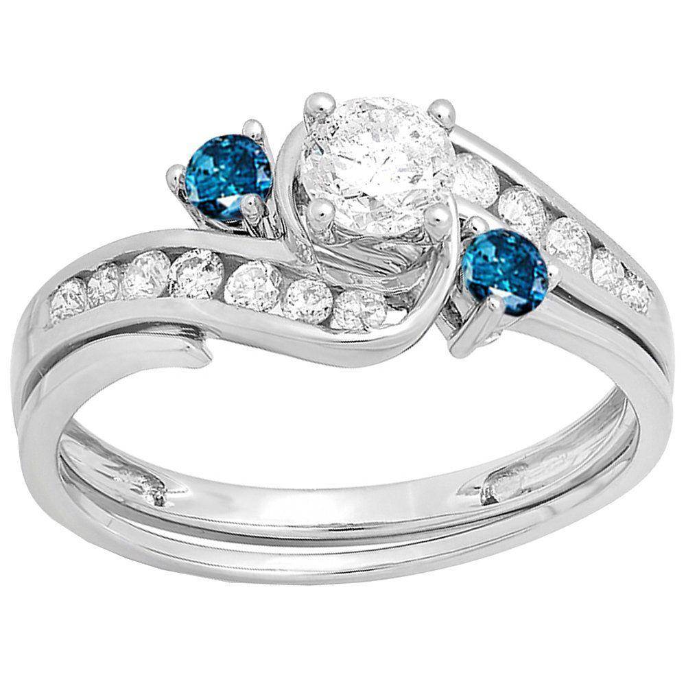 Elora 14k Gold 7/8ct TDW Blue and White Diamond Swirl Bridal Band Set (I-J, I1-I2) (Size 4.5, Yellow Gold), Women's