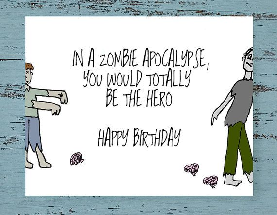 Zombie Birthday Card Funny Card For Him The Craft Corner