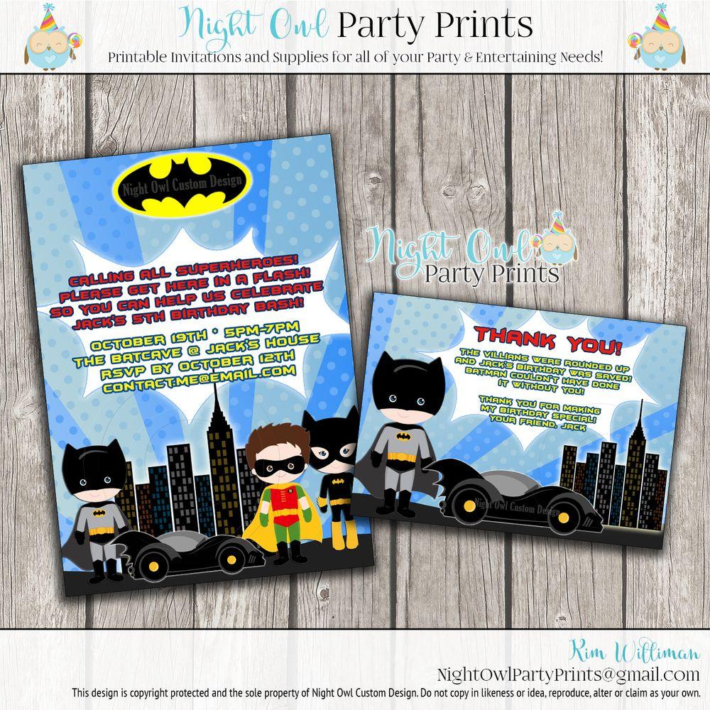 Batman Robin Birthday Invitation