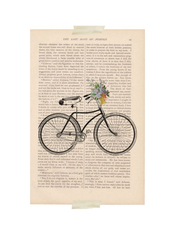 dictionary art  Bicycle with Basket of Flowers by ExLibrisJournals, $9.00