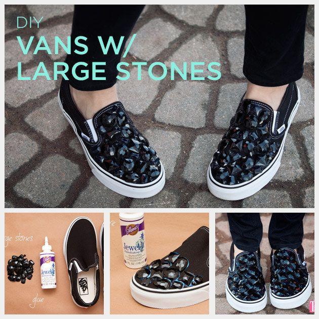 f8cdd2b9c Stick big gemstones onto sneakers with embellishing glue.
