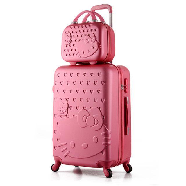 ed247755fbec Online Shop 14+24 inch Pink Women Cartoon Hello Kitty Suitcase Set
