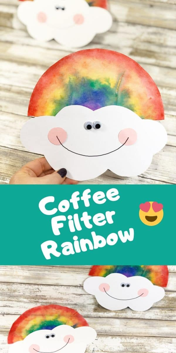 This Coffee Filter Rainbow is a fun spring craft for kids to make at home or at school. Great project for toddlers, preschool, and older children too! You can also use this activity to teach kids about color theory and blending. Plus, it's the perfect time to learn the colors of the rainbow and incorporate it into other weather learning activities.