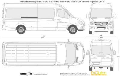 Vector Drawing Mercedes Benz Sprinter 310 313 316 319 413 416 510 513 516 519 Cdi Van Lwb High Roof Auto Tatuagem No Pescoço Masculino
