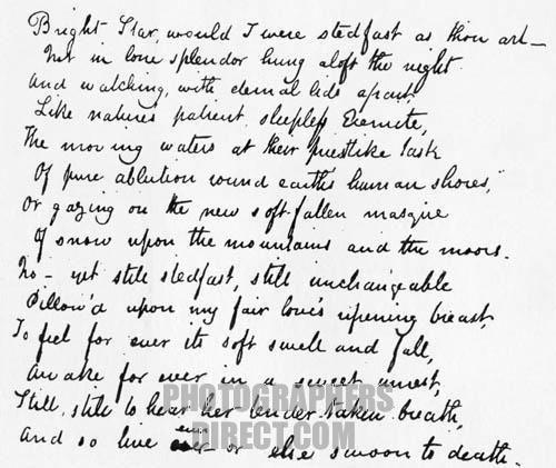 Last Sonnet by John Keats . Poem starts : Bright star would I were ...