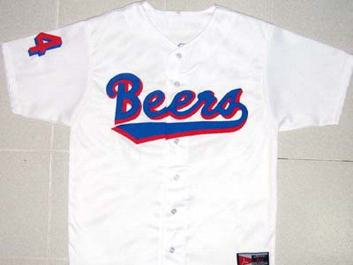 """BASEketball BEERS MOVIE JERSEY JOE """"COOP"""" COOPER WHITE NEW ANY SIZE XS - 5XL"""