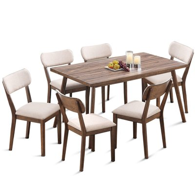 George Oliver Eberhart 7 Piece Solid Wood Dining Set Solid Wood