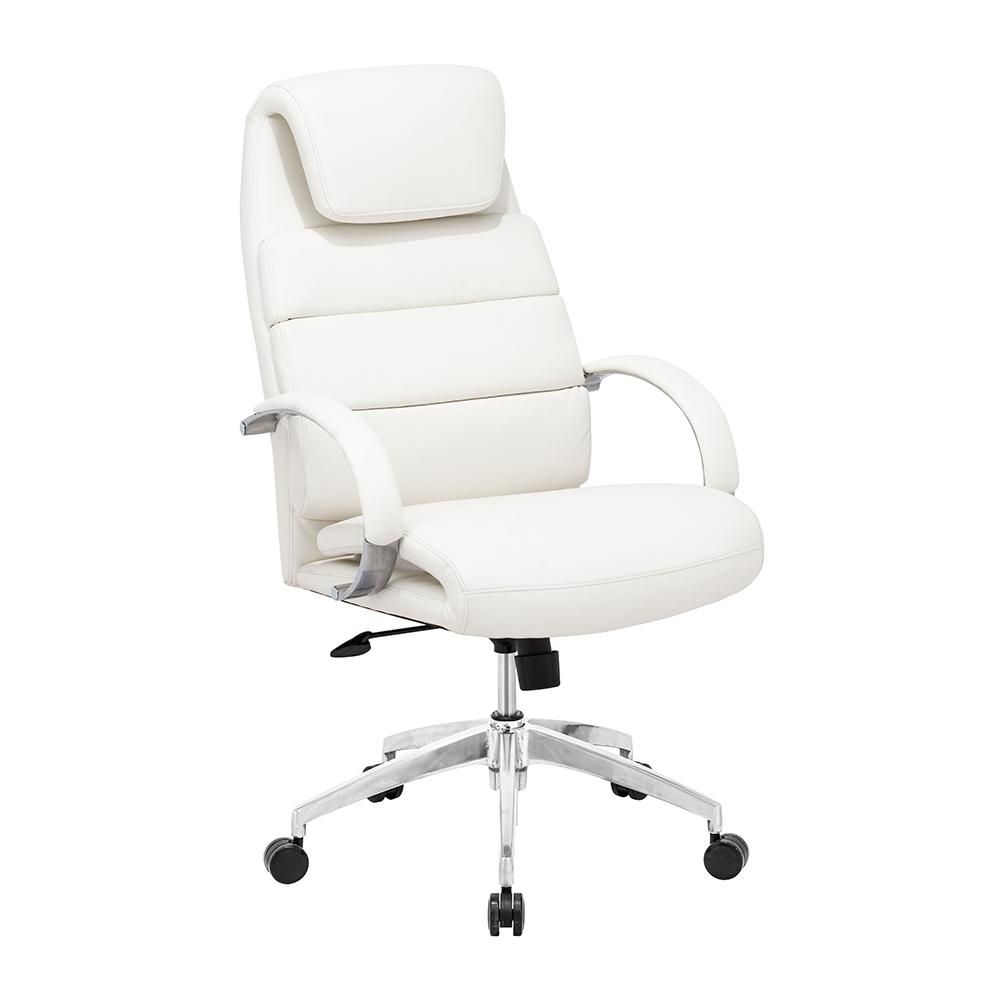 This Chair Has A Leatherette Wrapped Seat And Back Cushions With Chrome Solid Steel Arms With Leathe White Office Chair Office Chair Design Modern Office Chair