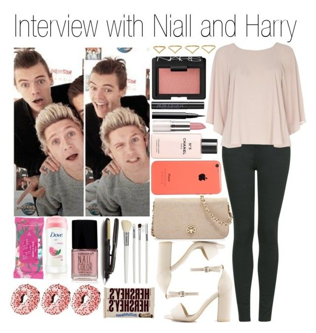 """""""• Interview with Niall and Harry"""" by dianasf ❤ liked on Polyvore featuring H&M, Topshop, Dorothy Perkins, NARS Cosmetics, Tory Burch, Nly Shoes, Ana Khouri, Forever 21, Urban Decay and Chanel"""