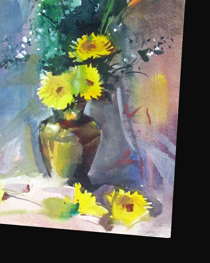 Flowers In Vase Watercolor Painting By Milind Mulick Flower Art