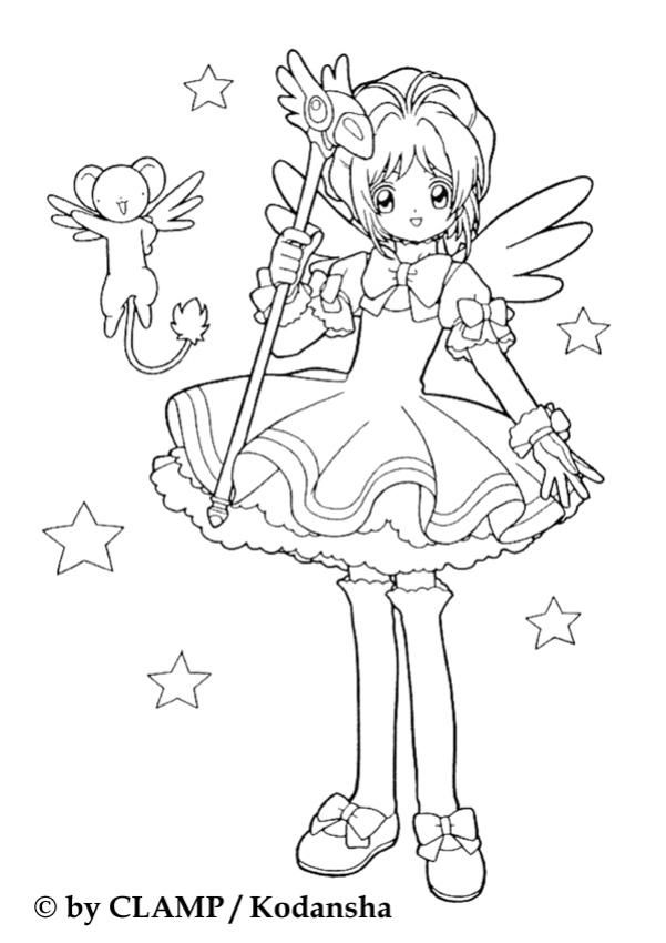 Sakura the princess and Kereberus coloring page. More content on ...
