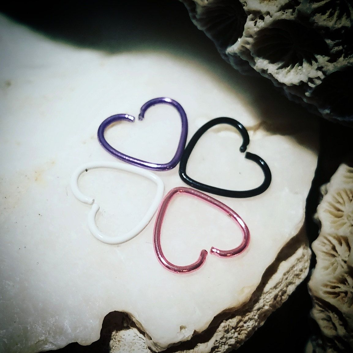 20g Stainless Steel Heart Hoop Piercing  Pink Nose Ring Cartilage Ring  Tragus Earring Rook Helix
