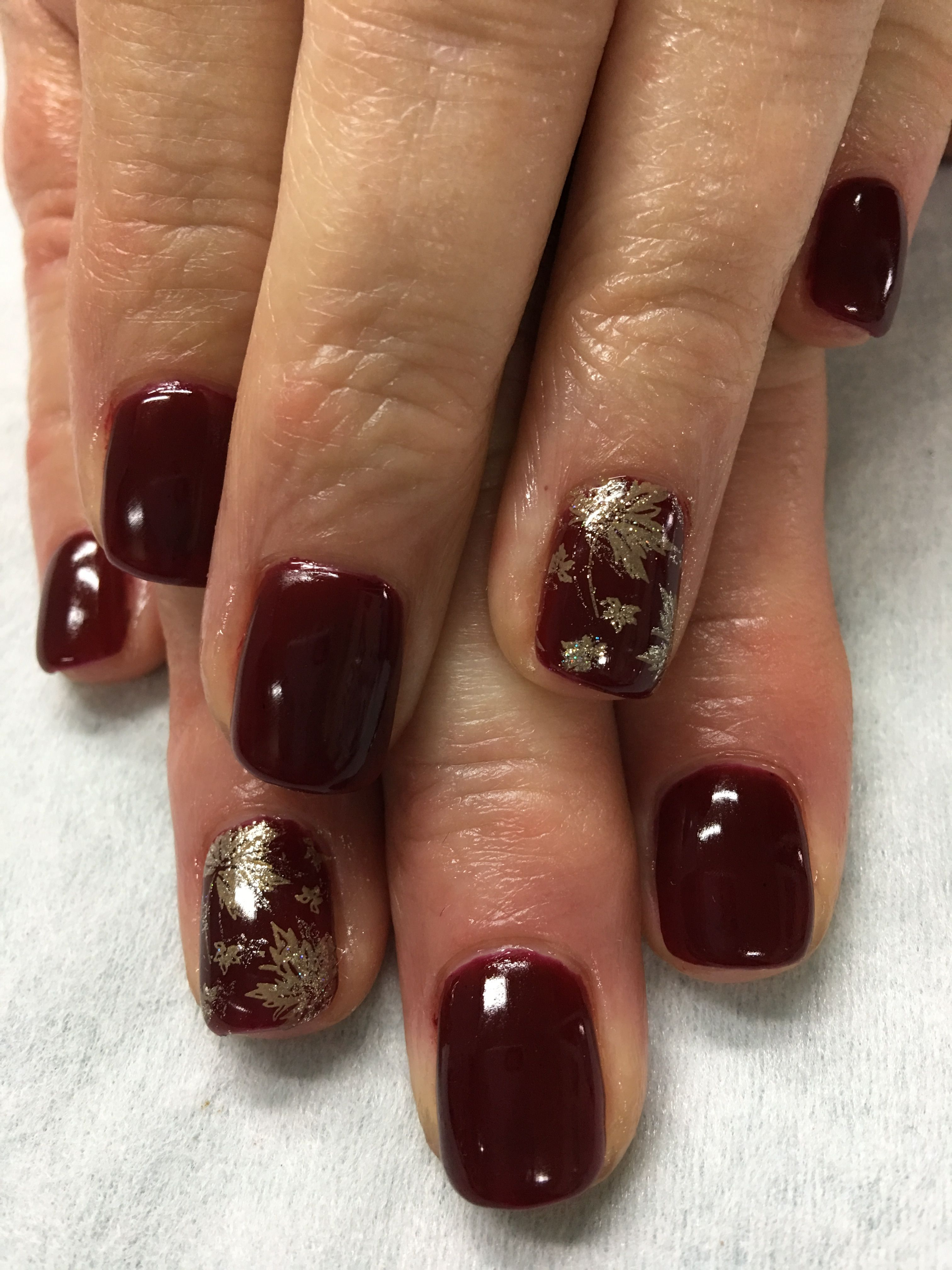 Fall Nails Burgundy Wine Gold Stamped Fall Leaves Gel Nails Wine Nails Fall Gel Nails Fancy Nails