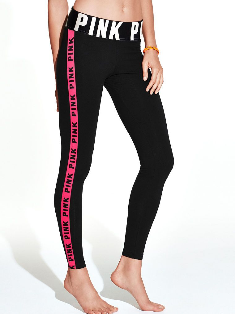 04cbbdc442cbb7 Logo Stripe Yoga Leggings - PINK - Victoria's Secret | athletic ...