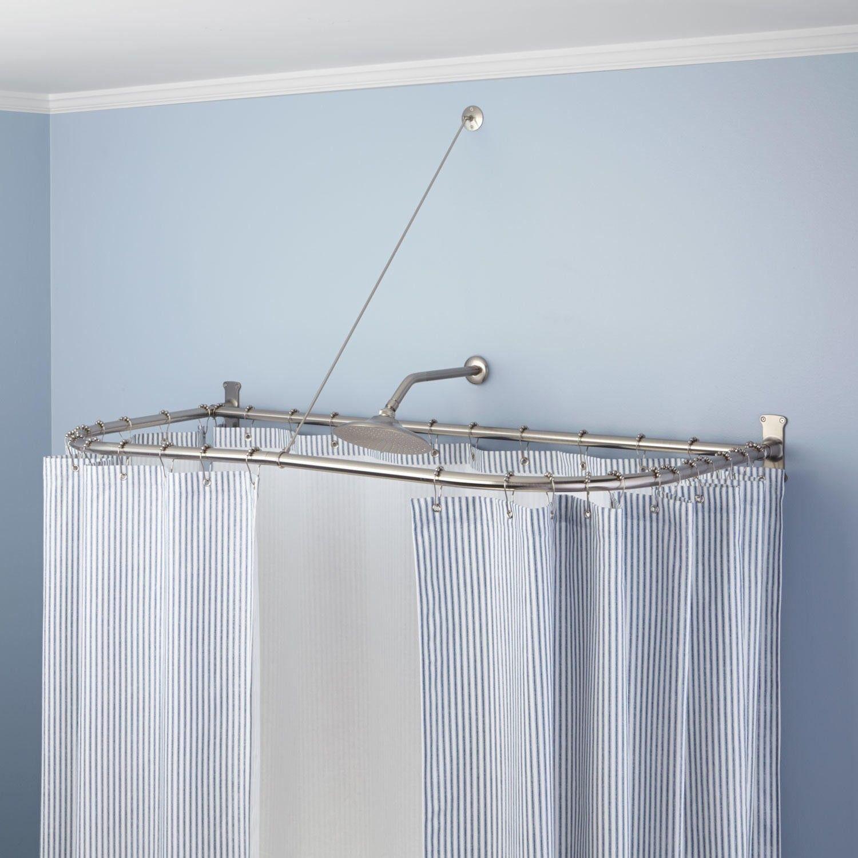 d shaped shower curtain rod shower