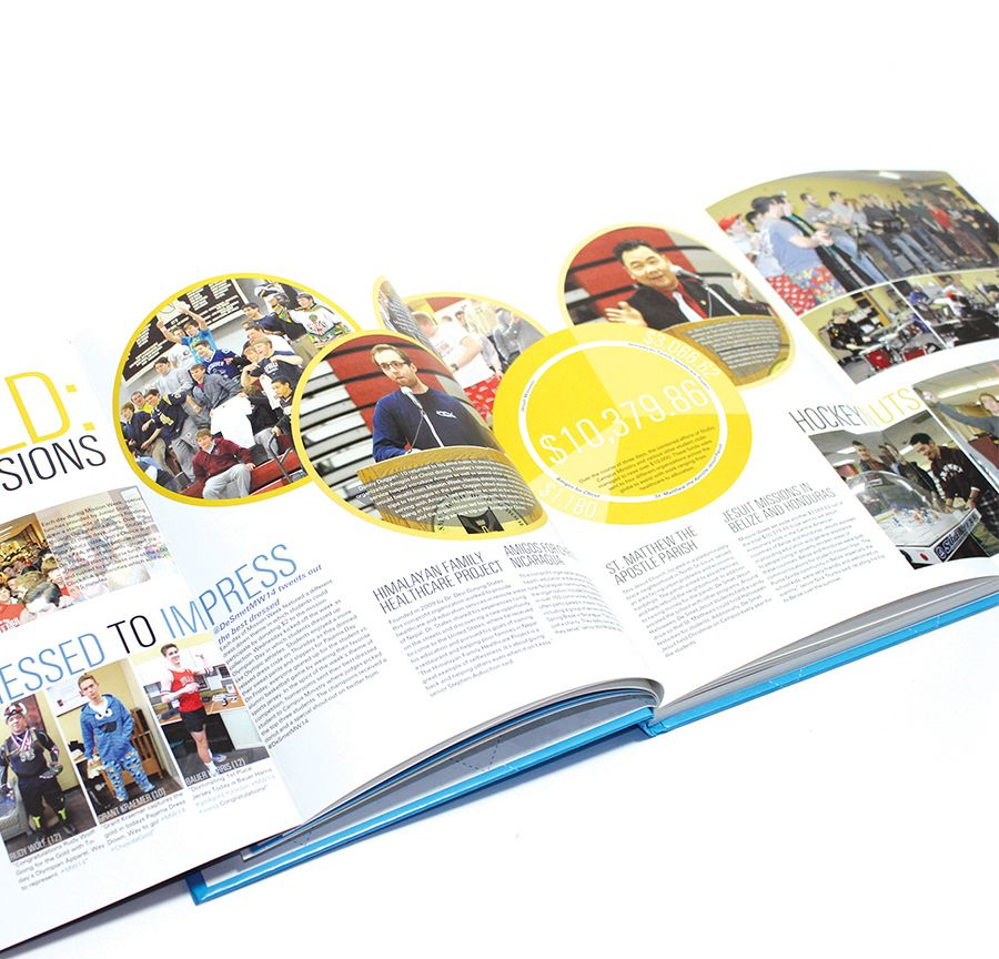 De Smet Jesuit High School (Creve Coeur, MO) | 2015 Yearbook | Add a little something extra to your pages with tip-ins or gatefolds. Think, mini-mags or pages that unfold and extend to reveal even more great content. | Printed by Herff Jones