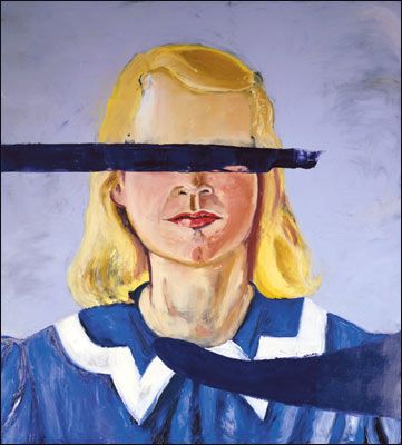 My tutor said something interesting to me today - if there is something hidden behind another object in a painting, is the something wholly there, or is it just an element of it being shown? - I found this interesting in relation to this piece of work, are the girls eyes still there, even if they have never actually been painted- do they actually exist? Nice bit o brain juice for you to ponder on!