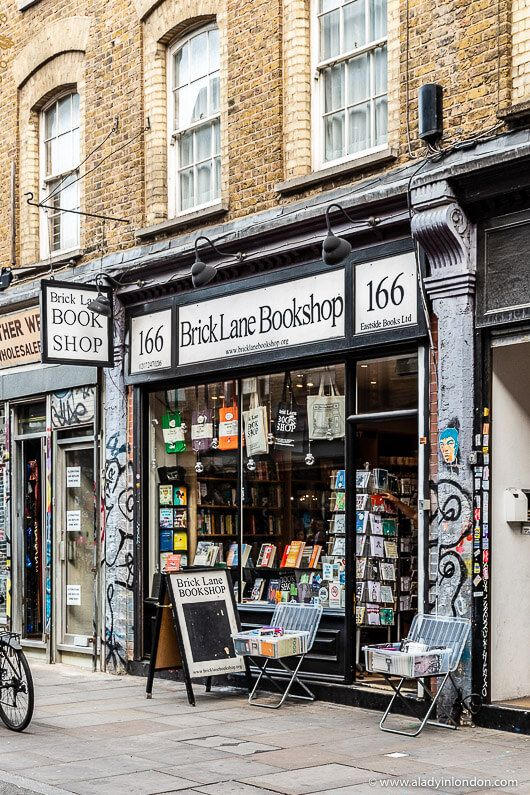 Brick Lane Bookshop, London. This is one of the best streets in London. Click through for more pictures on the A Lady in London blog.   #bricklane #bookshop #london