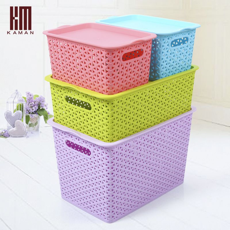 Plastic Storage Box Rattan Cutout Clothing Basket Desktop Finishing 4pieces Set