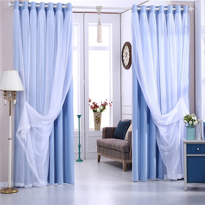 Fresh Max Blackout Curtain Solid Color Curtain With Sheer Curtain