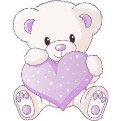 Sticker ourson coeur lilas stickers b b enfant pinterest - Dessin nounours avec coeur ...
