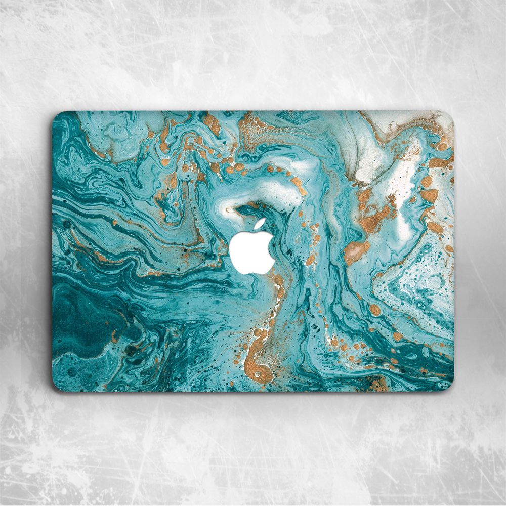 Gold Turquoise Marble Hard Cover Case For Macbook Pro Retina Air 11 12 13 15