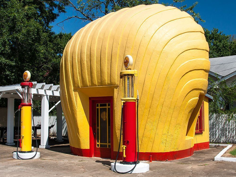 Shell Shaped Gas Station Points Of Interest Landmarks Go See