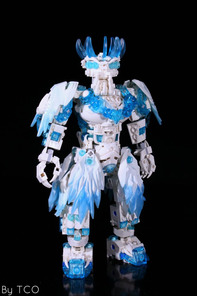 """One of the ancient gods (another one can be found here), the mighty evil ice lord Élivágar, the forefather of all ice elementals and ice creatures (like Hukamanu). First kinda serious work in 2016. I built it accidentally: I started with head, inspired by LittleTaggy's WIP and tried to construct the rest of the MOC in this """"evil icy"""" style. As always hard for me to build in bright colours, cannot see this techinc axels dots... -_- Hand design belongs to Brickthing. This time I tried to put…"""