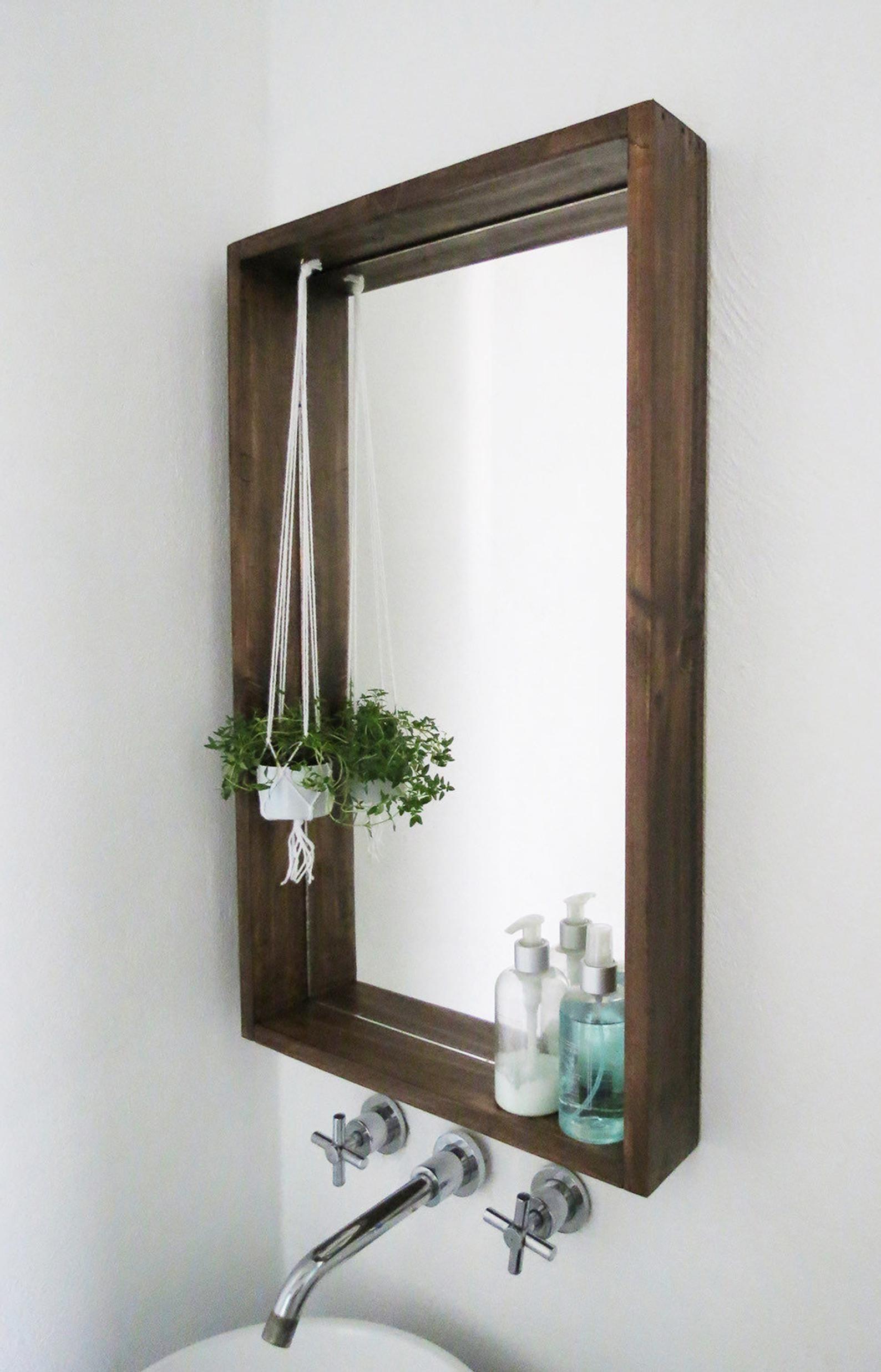 Handmade Shelf Bathroom Mirror Rustic, Oak Framed Bathroom Mirror With Shelf