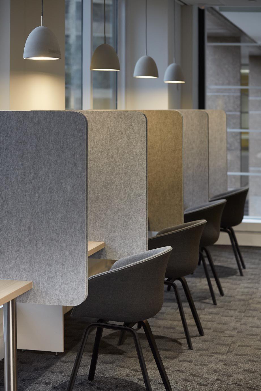 Kirei echopanel geometric tiles building for health - Kirei Echopanel Workspace Partitions 442 Speckled Gray