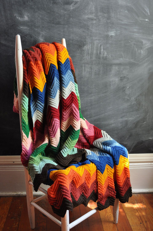 Vintage Afghan Blanket Rainbow Zig Zags Wool. via Etsy. (Inspiration ...