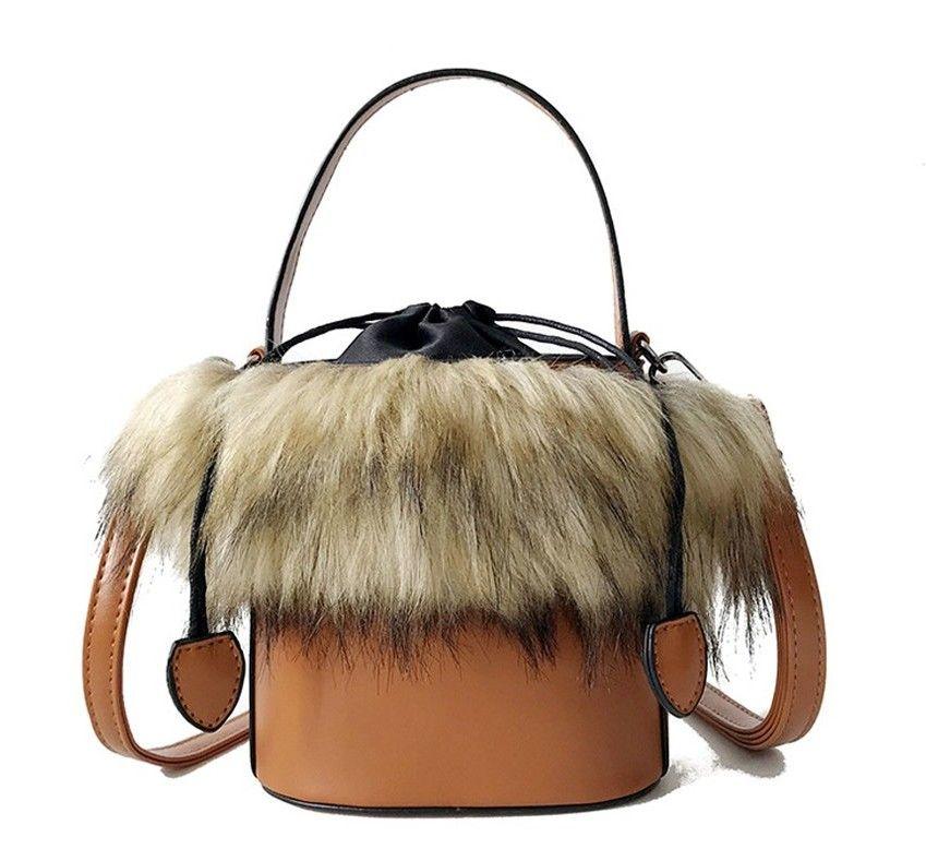 2bcb2316a2a4 Bucket Bag Faux Fur Leather Women Small Crossbody Bag Tote Handbag ...