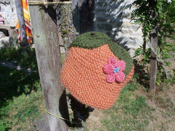 Bonnet bébé 18 mois tricoté main hippie chic flower power baba cool bobo  chic bohème bohemian af3ca50aadc
