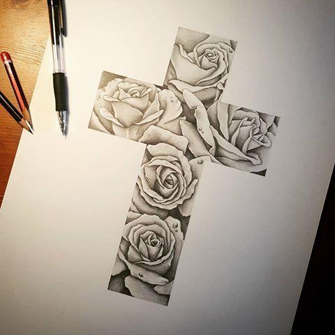 Resultado de imagen para tatuajes de cruces con enredaderas  Art