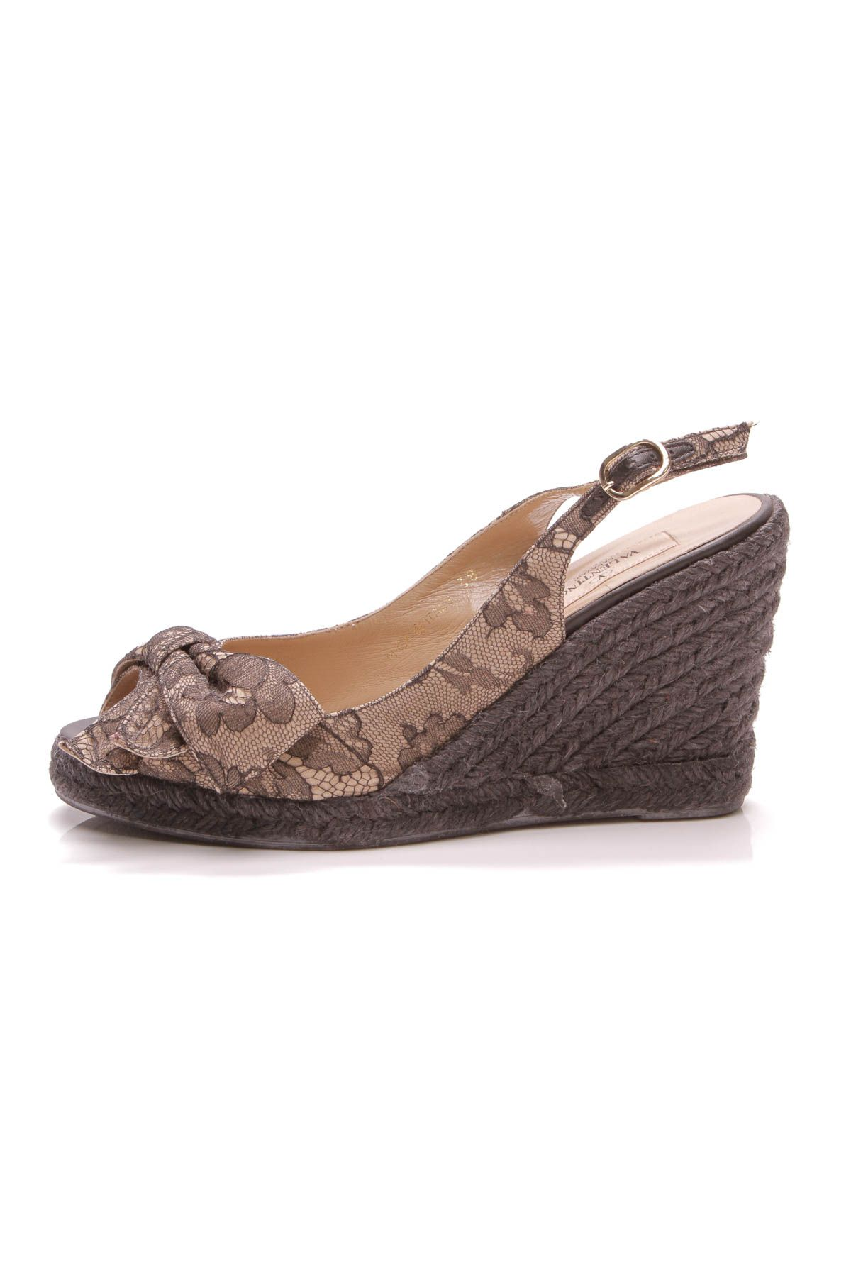 fe83735bb9d Valentino Mena Espadrille Wedge Sandals - Black Lace | Just For ...