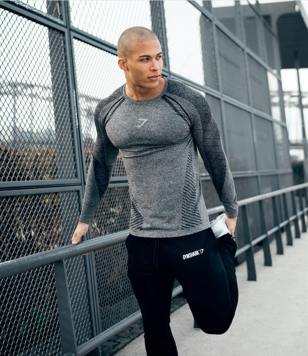 Devant Seamless Long Sleeve T Shirt Black Gymshark
