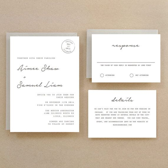 Printable Wedding Invitation Template INSTANT DOWNLOAD Parcel