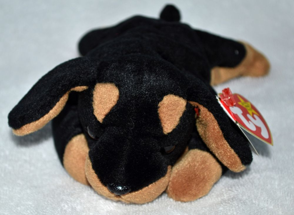 85bb9a515ed TY Beanie Babies 1996 Original No Stamp  Doby the  Doberman Dog Retired  Mint MWMT  Ty