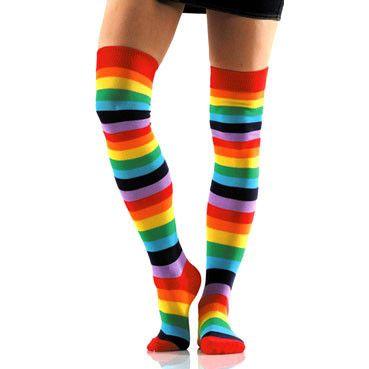 Rainbow Over-the-Knee Socks