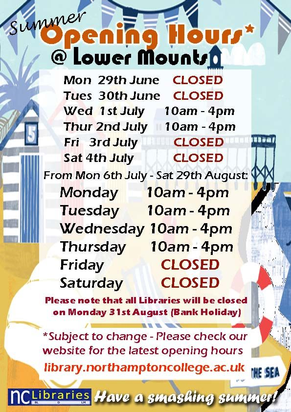Summer is just around the corner! Please take note of our opening hours at Lower Mounts Library.   Be aware that these times are subject to change