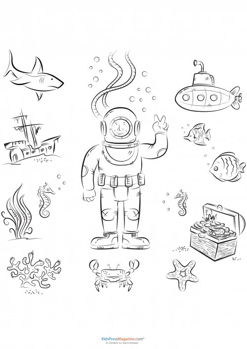 - Deep Sea Diver - KidsPressMagazine.com In 2020 Diver Art, Coloring Pages,  Dinosaur Valentines