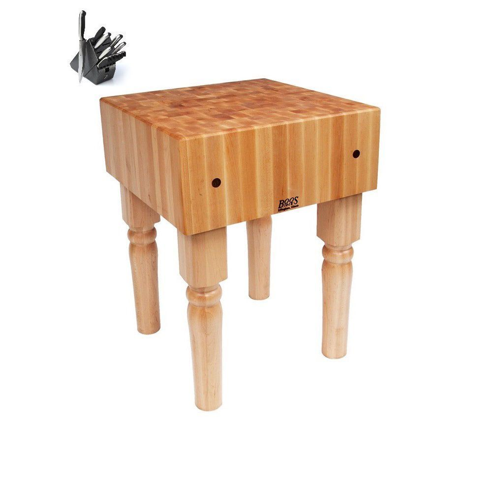 John Boos AB07 Butcher Block 30 x 30 x 36 Table with Casters and Henckels 13-piece Knife Block Set