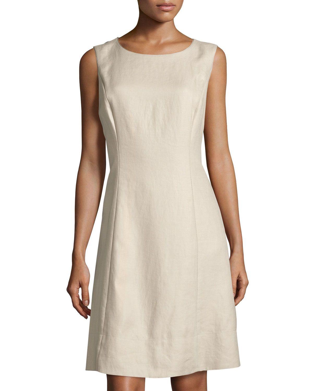 cf9c07d63 Lafayette 148 New York Laurette Linen Sheath Dress, Khaki, Women's ...