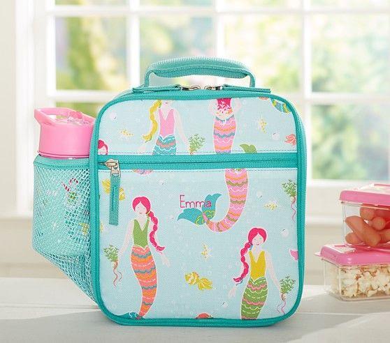 Mackenzie Aqua Mermaids Classic Lunch Bag | Pottery Barn Kids ...