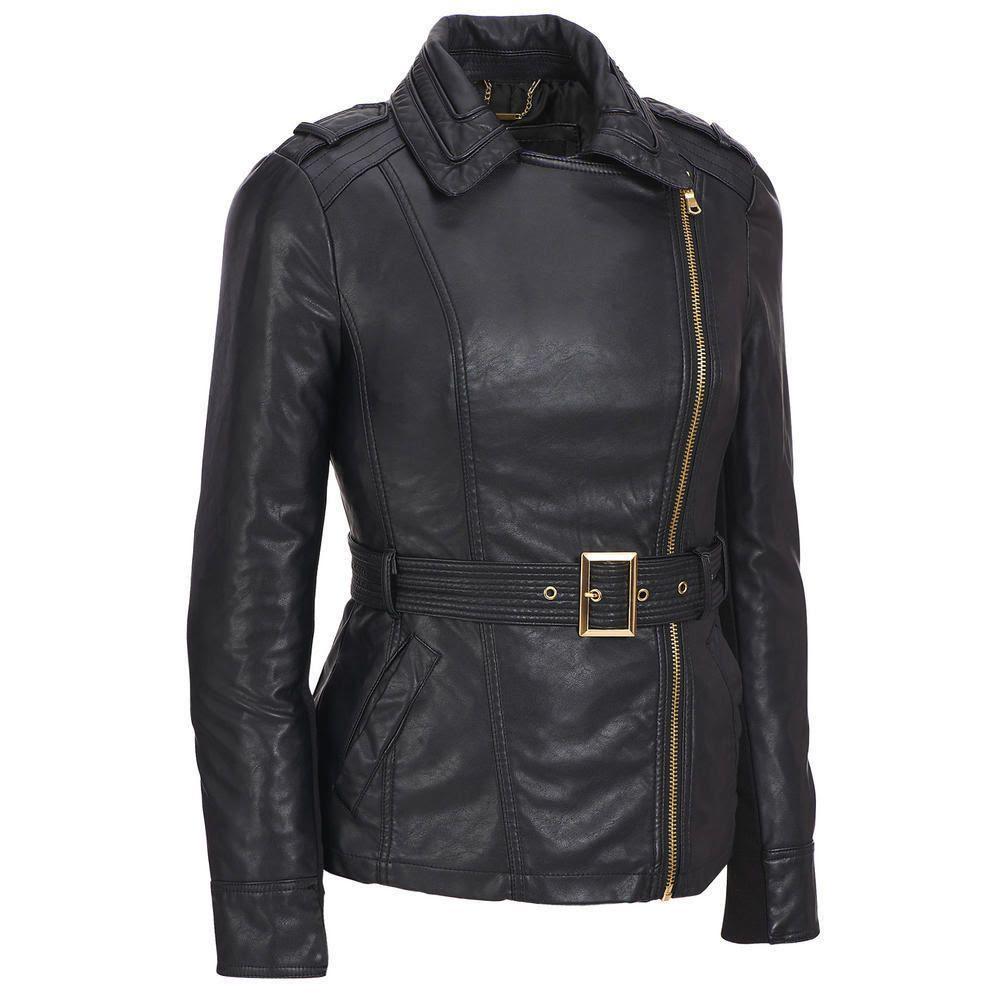 Ladies Women Slim Fit Fashion Genuine Soft  black Lambskin Leather custom Jacket