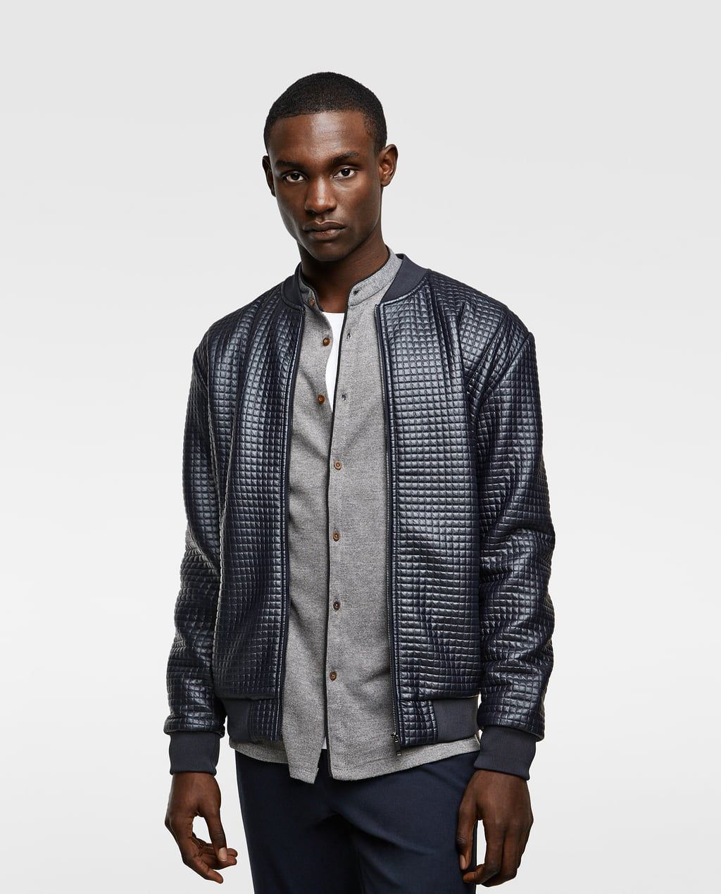 Image 2 of TEXTURED WEAVE FAUX LEATHER BOMBER JACKET from