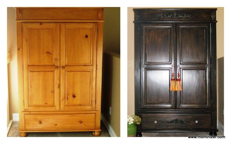 Pine Armoire Refinished With Rich Dark Stain And Tassels