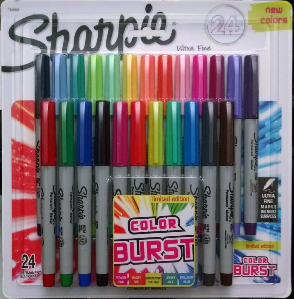 Sharpie Color Burst Permanent Markers Fine Point  Assorted Pack  Fine Point Tip