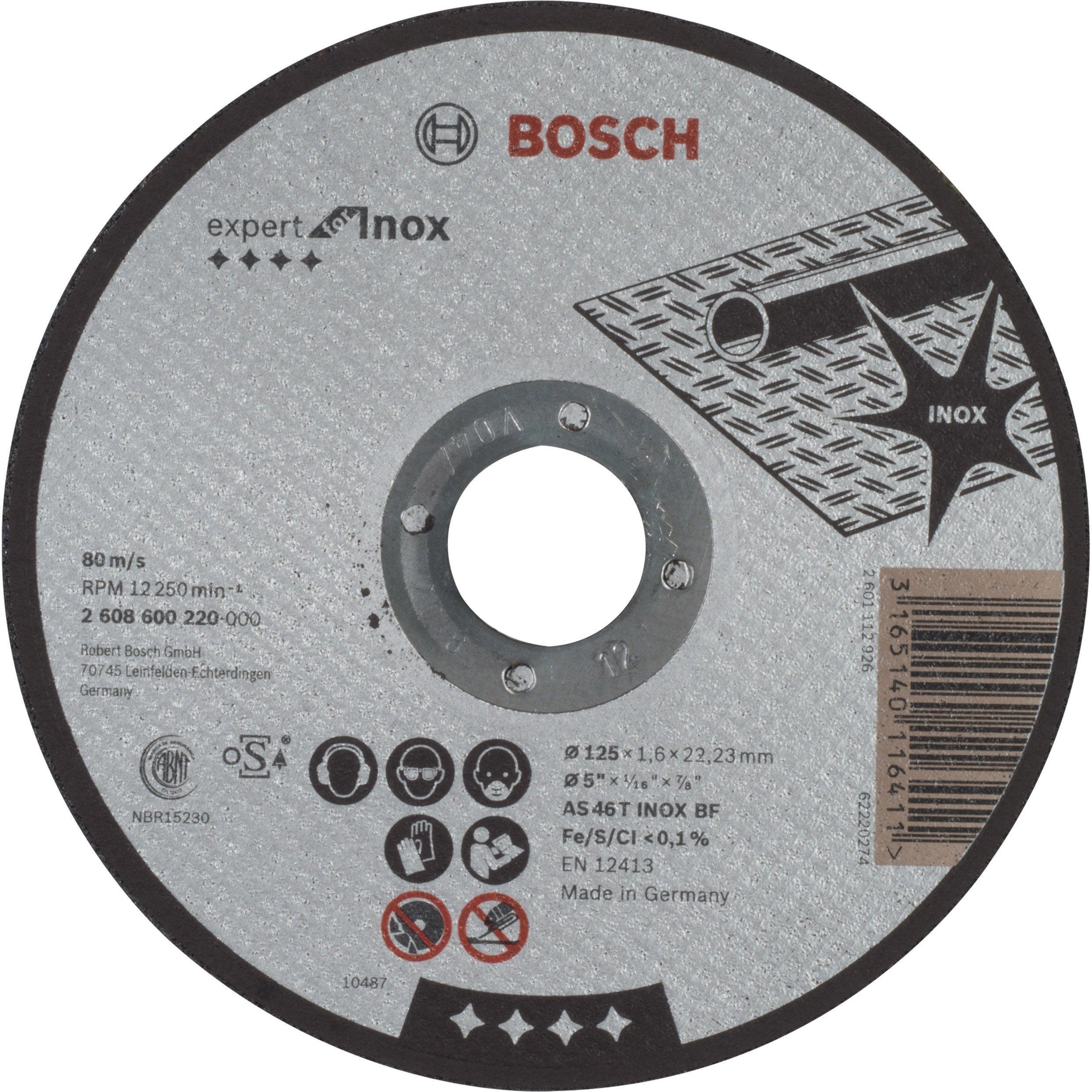 Disque Pour Inox Bosch Diam 125 X 1 6 X 22 2 Mm 2608600220 Diamant Disque